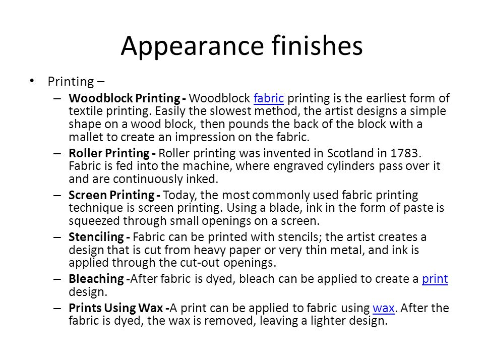 Appearance finishes Printing –