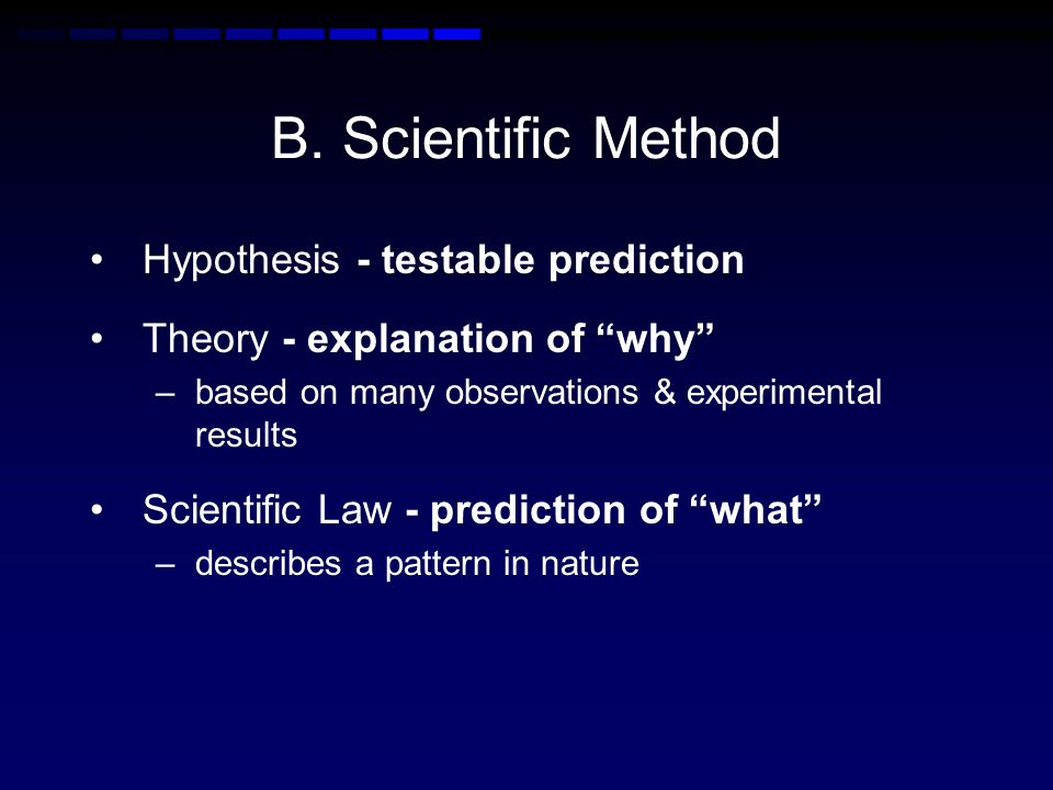 B. Scientific Method Hypothesis - testable prediction