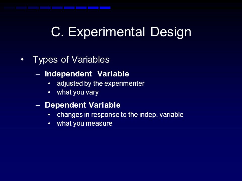 C. Experimental Design Types of Variables Independent Variable