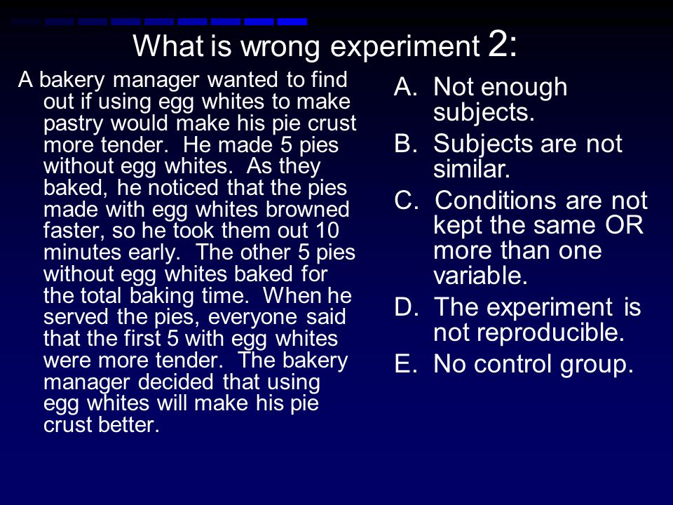 What is wrong experiment 2: