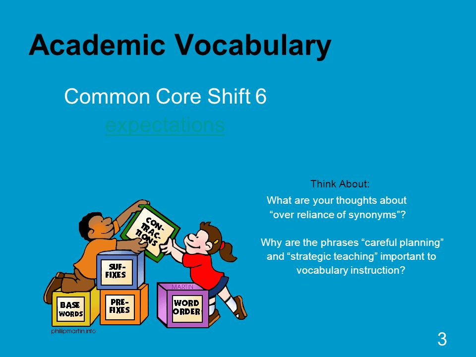 Academic Vocabulary Common Core Shift 6 expectations Think About: