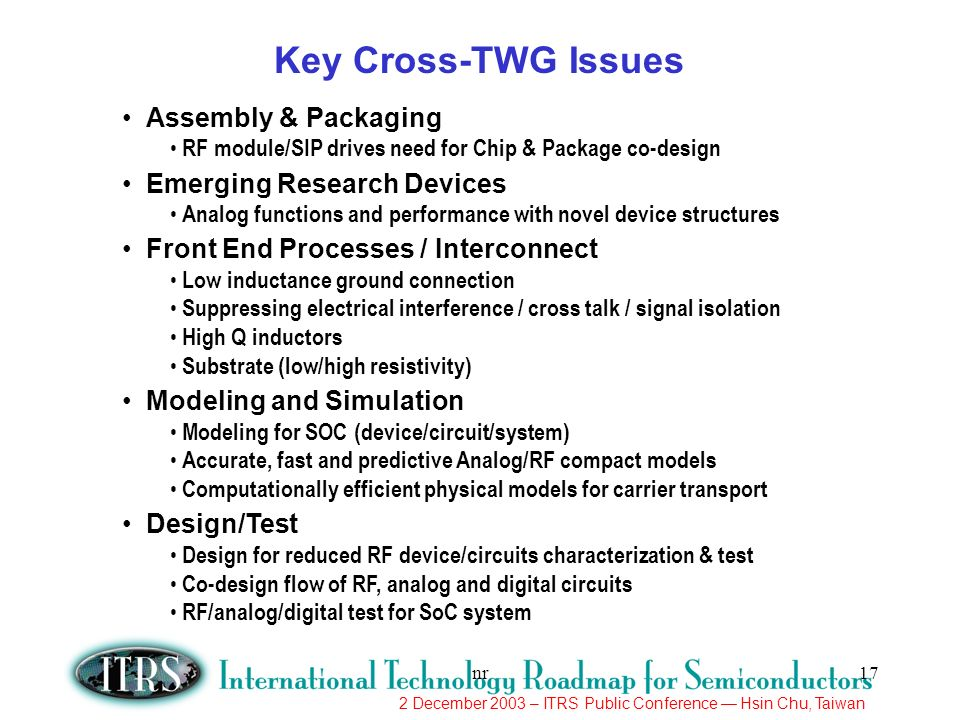 Key Cross-TWG Issues Assembly & Packaging Emerging Research Devices