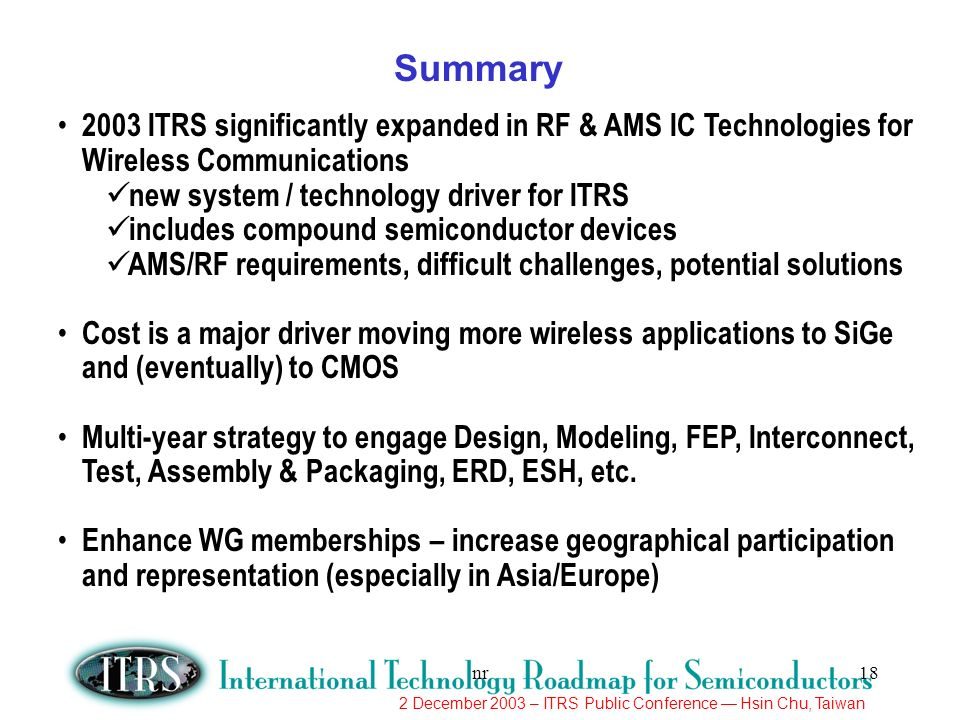 Summary 2003 ITRS significantly expanded in RF & AMS IC Technologies for Wireless Communications. new system / technology driver for ITRS.