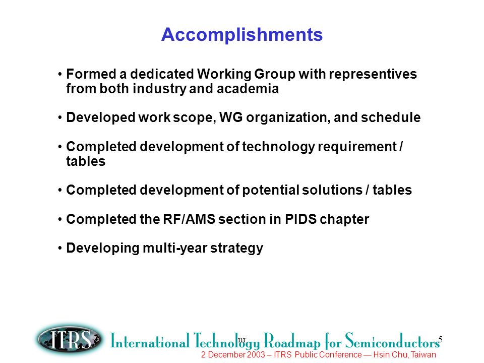 Accomplishments Formed a dedicated Working Group with representives from both industry and academia.