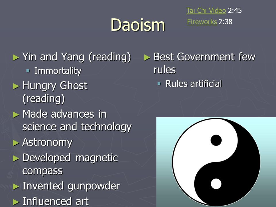 Daoism Yin and Yang (reading) Hungry Ghost (reading)