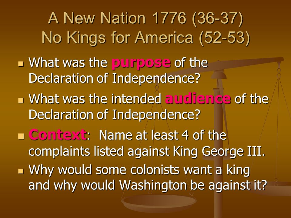A New Nation 1776 (36-37) No Kings for America (52-53)