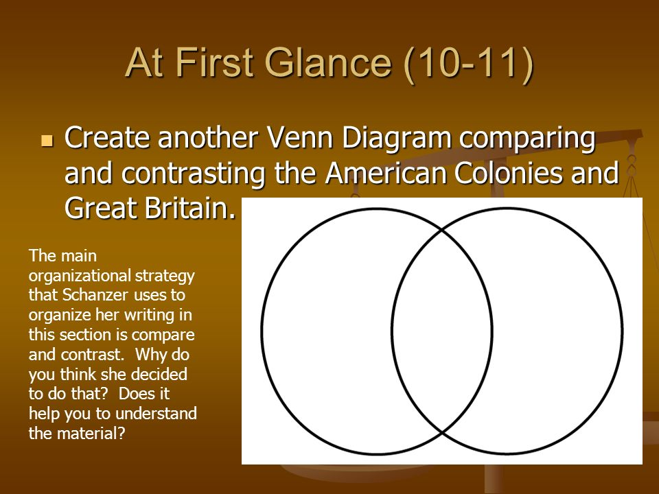 At First Glance (10-11) Create another Venn Diagram comparing and contrasting the American Colonies and Great Britain.