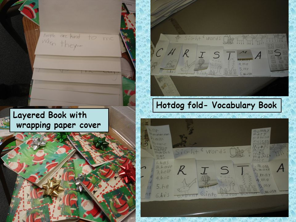 Hotdog fold- Vocabulary Book
