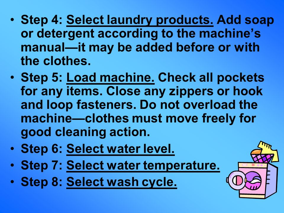 Step 4: Select laundry products