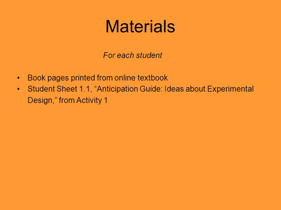 Materials For each student Book pages printed from online textbook