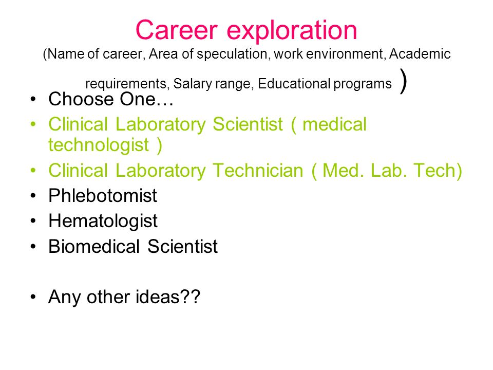 Career exploration (Name of career, Area of speculation, work environment, Academic requirements, Salary range, Educational programs )