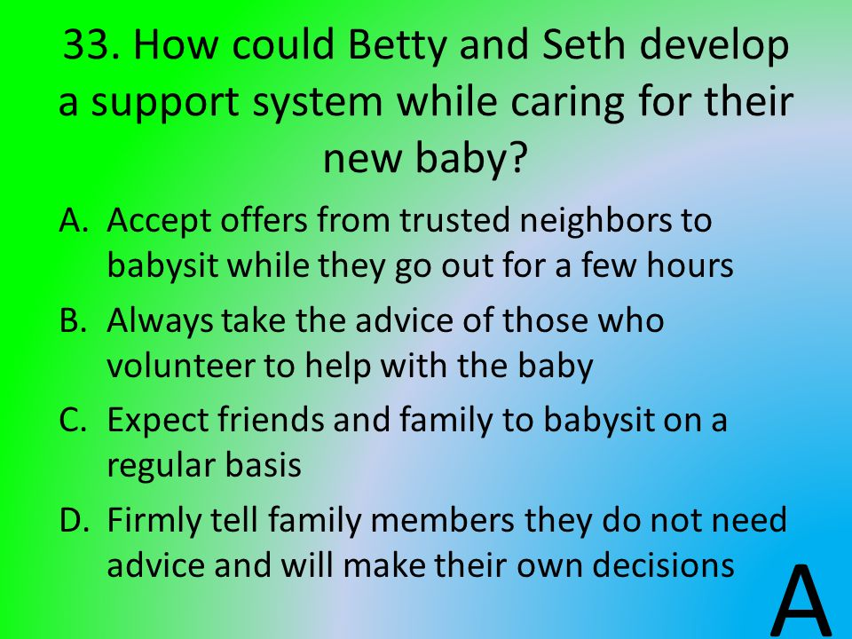 33. How could Betty and Seth develop a support system while caring for their new baby