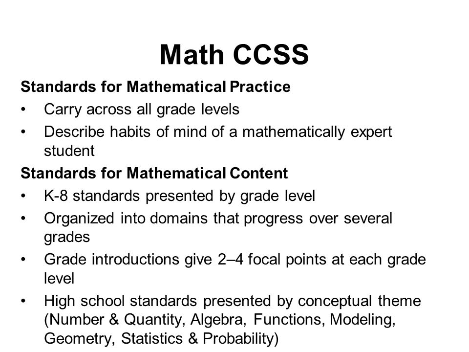 Math CCSS Standards for Mathematical Practice