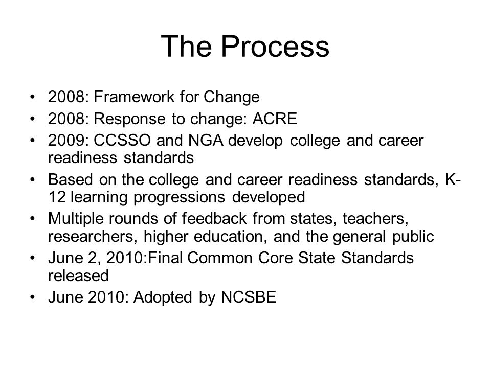 The Process 2008: Framework for Change 2008: Response to change: ACRE