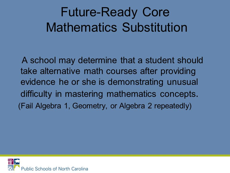 Future-Ready Core Mathematics Substitution