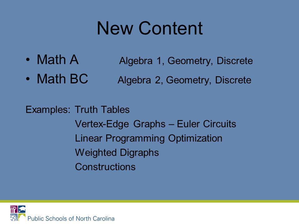New Content Math A Algebra 1, Geometry, Discrete