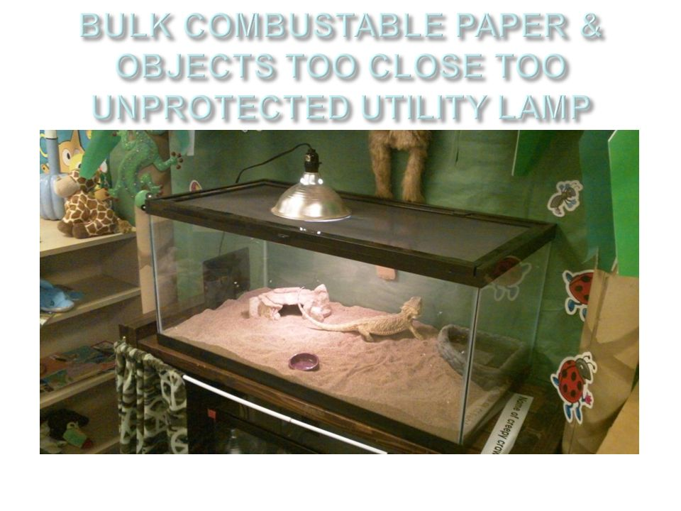 BULK COMBUSTABLE PAPER & OBJECTS TOO CLOSE TOO UNPROTECTED UTILITY LAMP