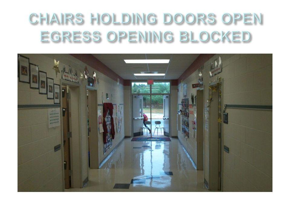CHAIRS HOLDING DOORS OPEN EGRESS OPENING BLOCKED