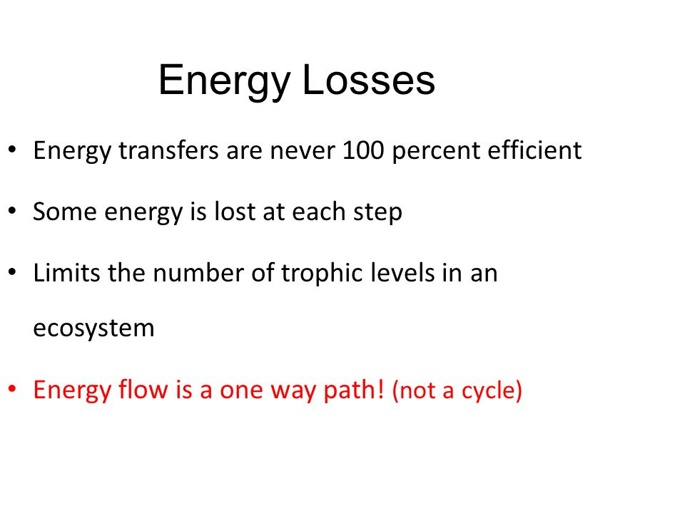 Energy Losses Energy transfers are never 100 percent efficient