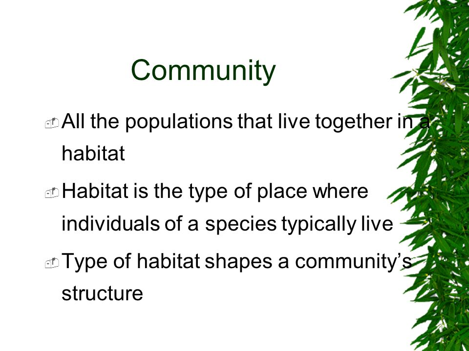 Community All the populations that live together in a habitat