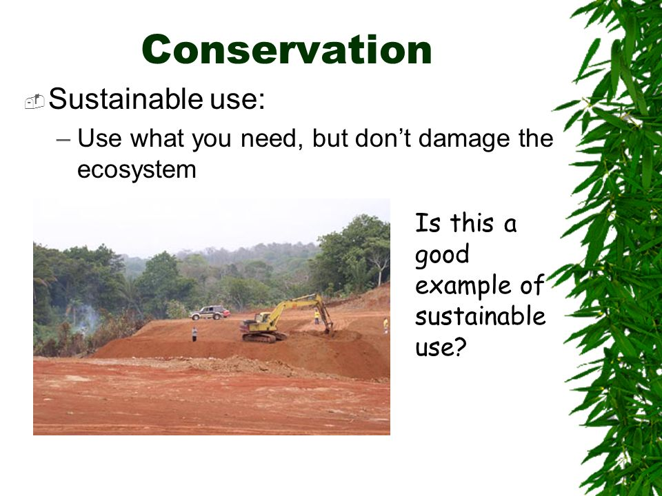 Conservation Sustainable use: