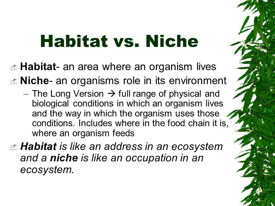 Habitat vs. Niche Habitat- an area where an organism lives