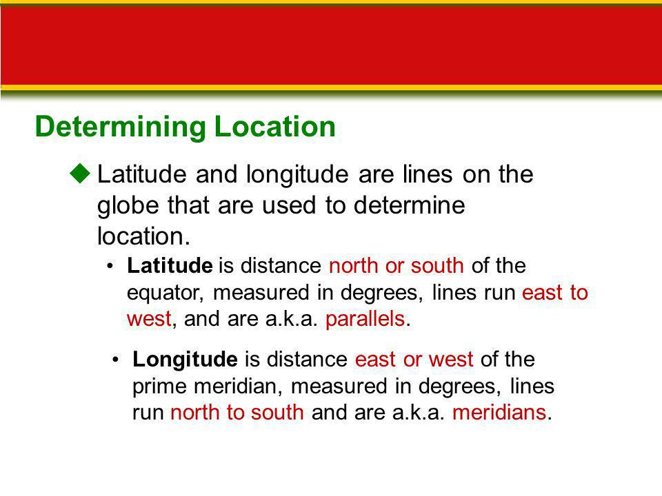 Determining Location Latitude and longitude are lines on the globe that are used to determine location.