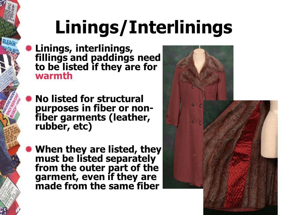 Linings/Interlinings