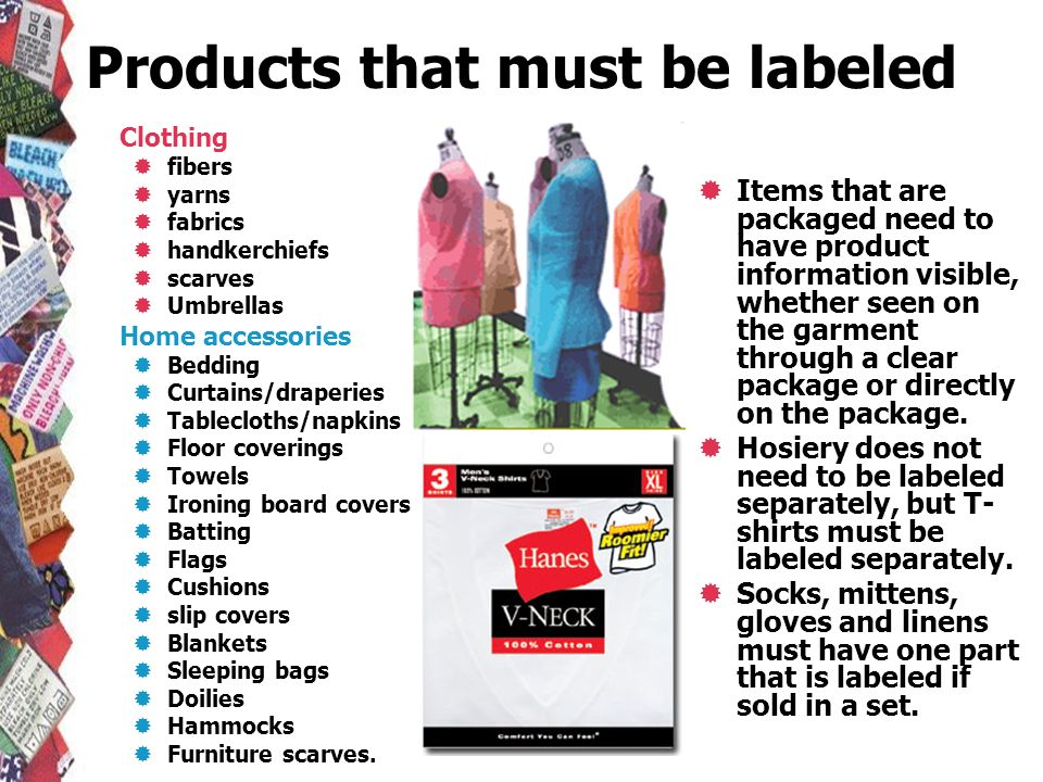 Products that must be labeled