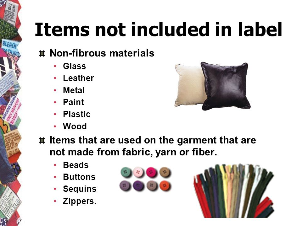 Items not included in label