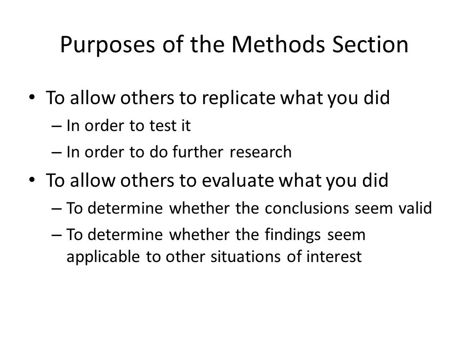 purpose section of a research paper The purpose of this paper is to describe and model apa-style of writing for research reports each section of an apa-style paper is described and is written according to the apa-style guidelines to allow you to use it as a model.