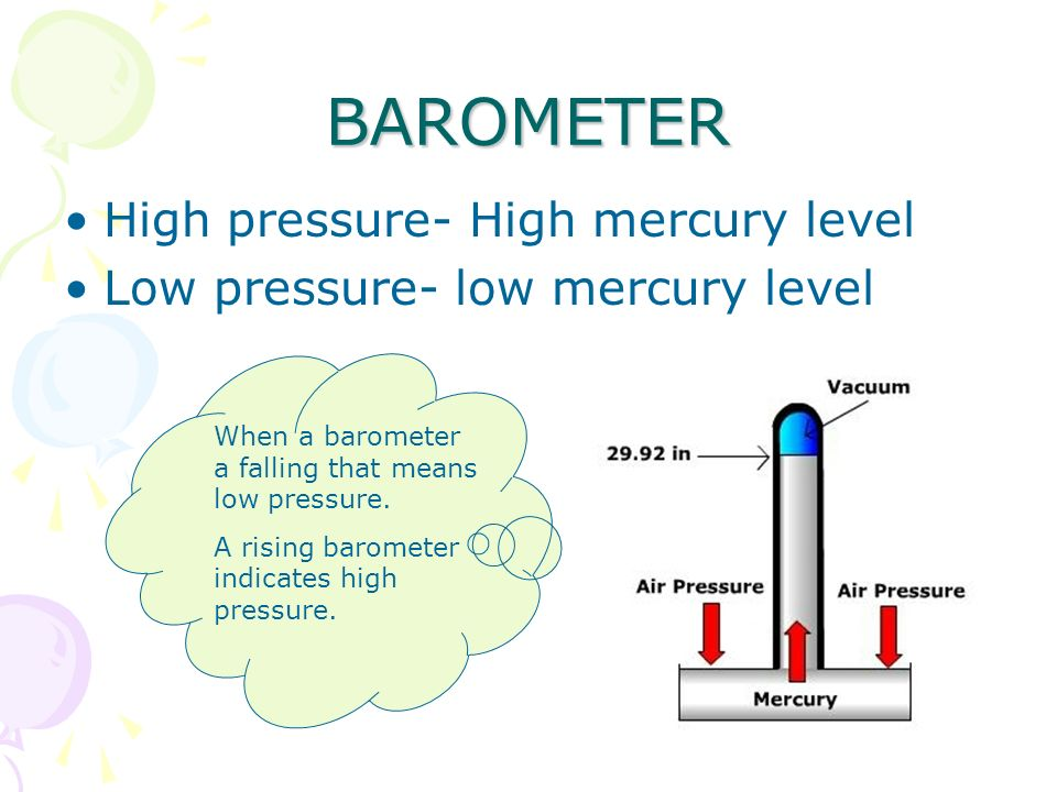 BAROMETER High pressure- High mercury level