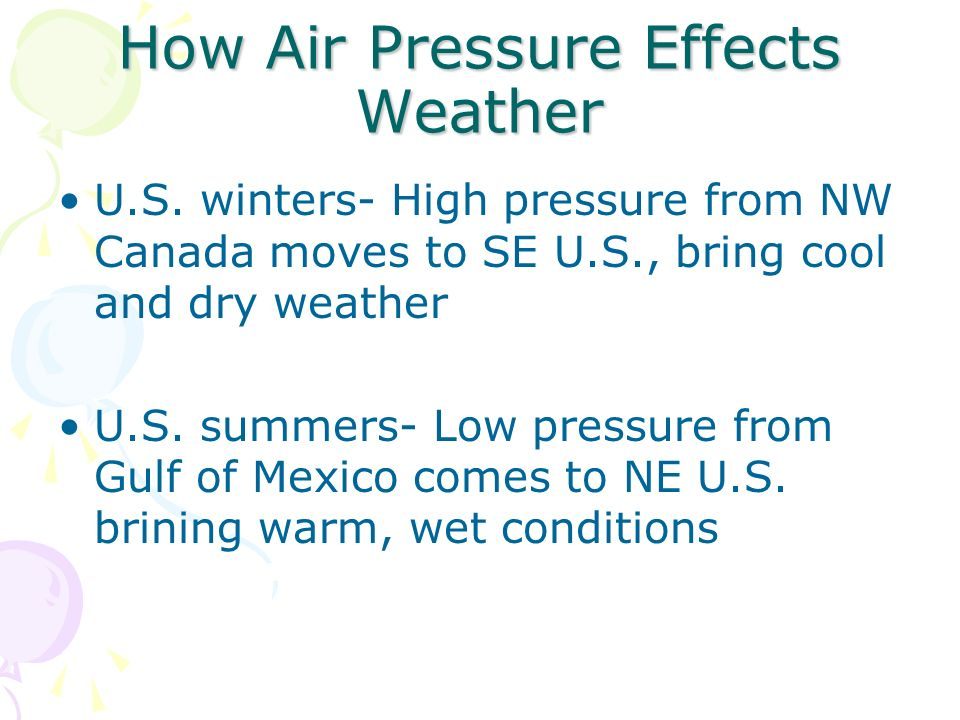How Air Pressure Effects Weather