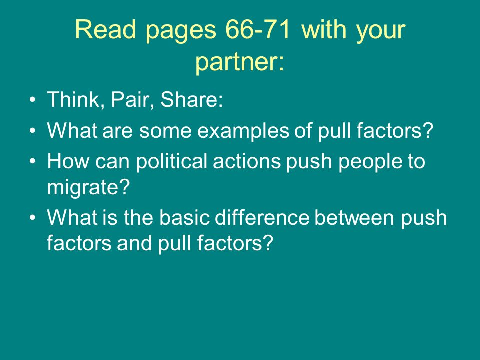 Read pages 66-71 with your partner: