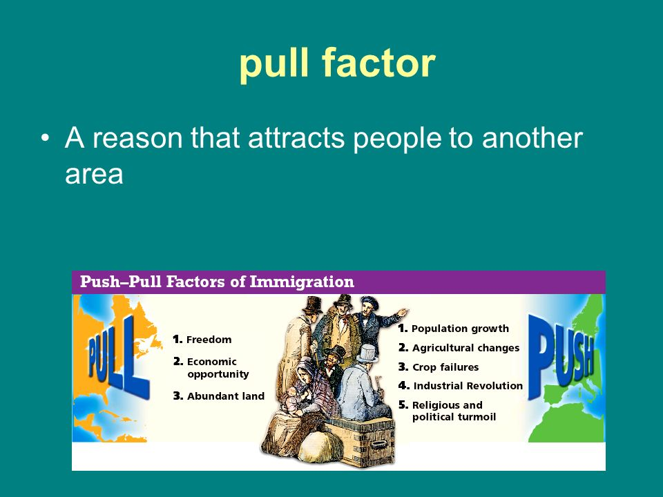 pull factor A reason that attracts people to another area