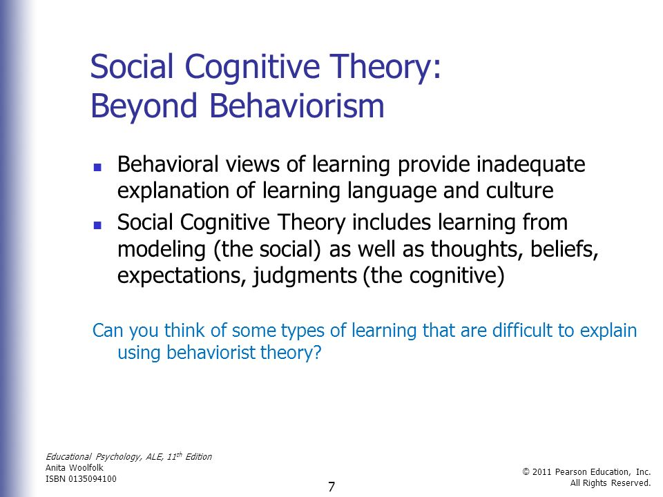 behavioral social cognitive views of While i am aware that there are some similarities (tenets) between ronald akers' social learning theory (slt) and albert bandura's social cognitive theory (sct) (eg similar tenets.