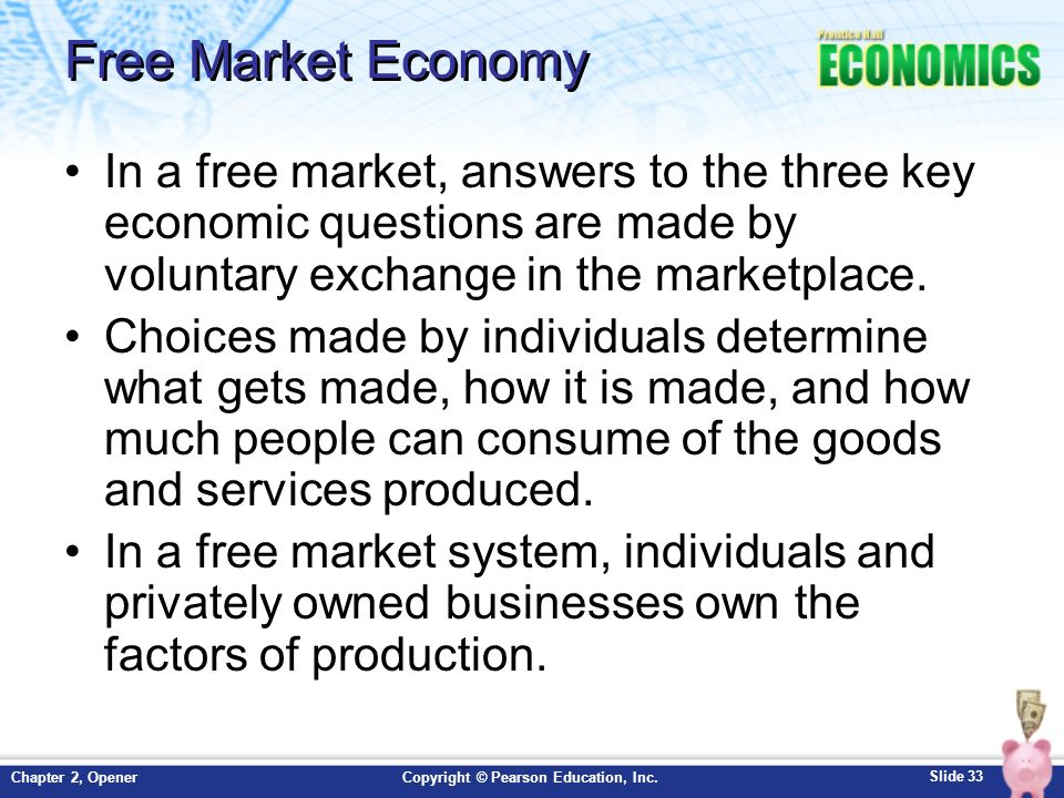 an introduction to the free market economy A free market economy promotes the production and sale of goods and services, with little to no control or involvement from any central government agency.