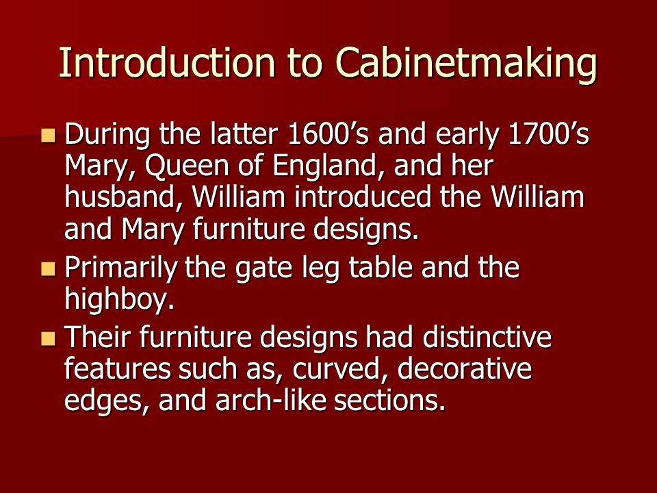 Introduction to Cabinetmaking