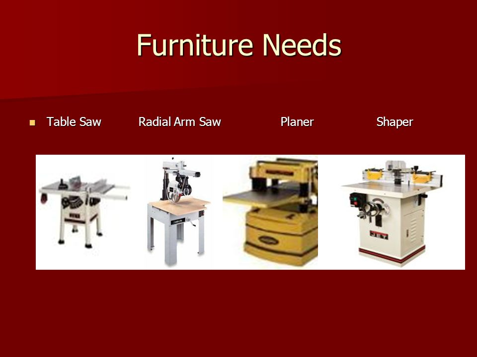 Furniture Needs Table Saw Radial Arm Saw Planer Shaper