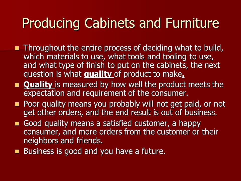 Producing Cabinets and Furniture