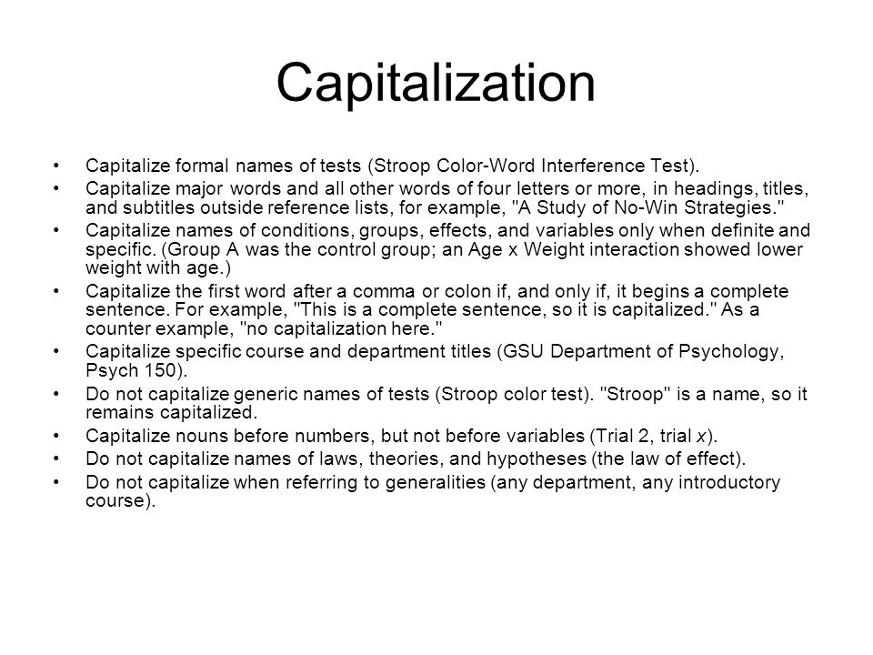 Capitalization Capitalize formal names of tests (Stroop Color-Word Interference Test).