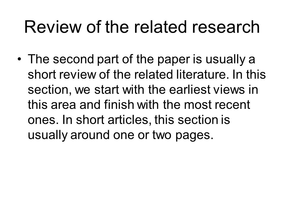 Review of the related research