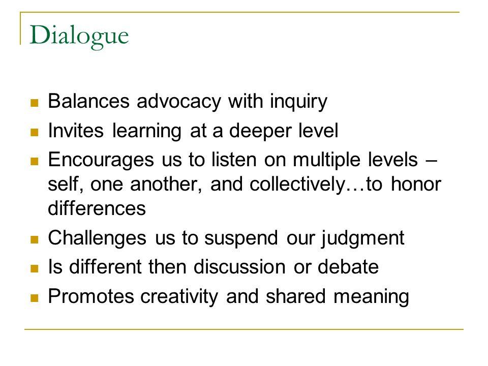 Dialogue Balances advocacy with inquiry