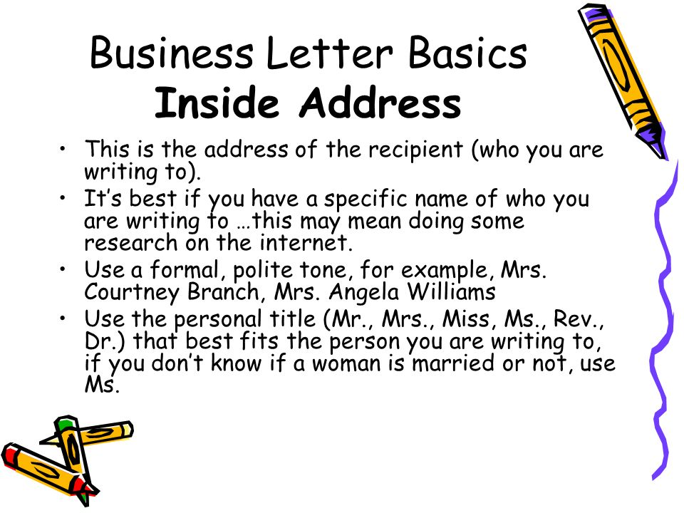Business Letter Basics Inside Address