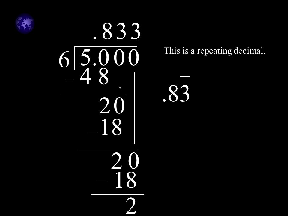 . 8 3 3 5 .0 6 This is a repeating decimal. 4 8 .83 2 18 2 18 2