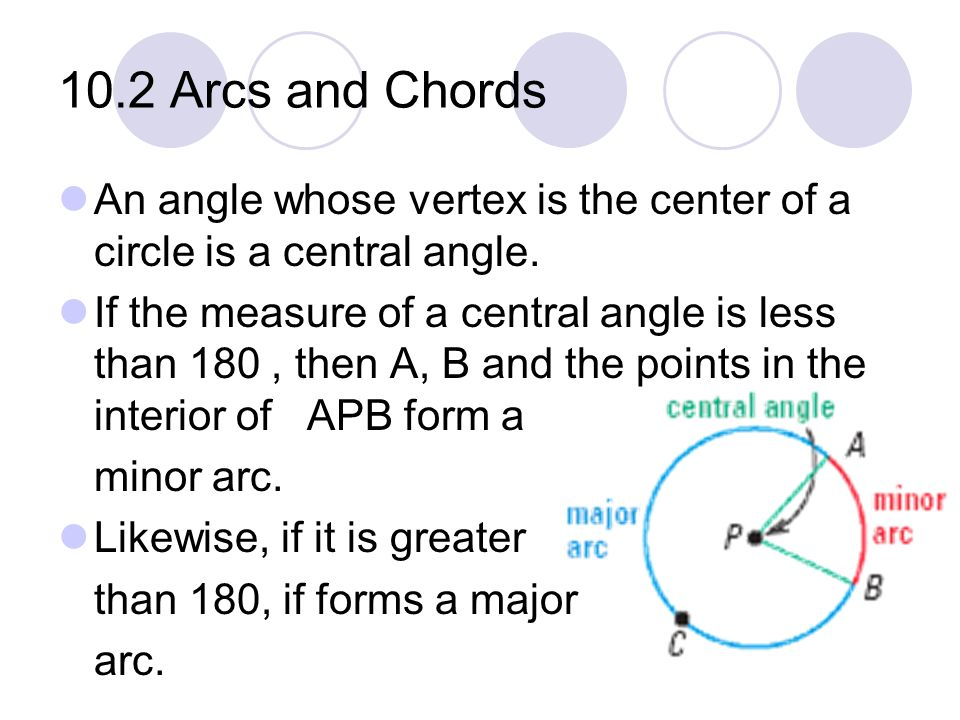 10.2 Arcs and Chords An angle whose vertex is the center of a circle is a central angle.