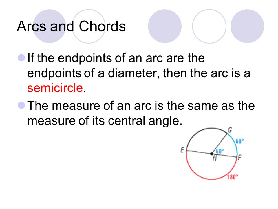 Arcs and Chords If the endpoints of an arc are the endpoints of a diameter, then the arc is a semicircle.