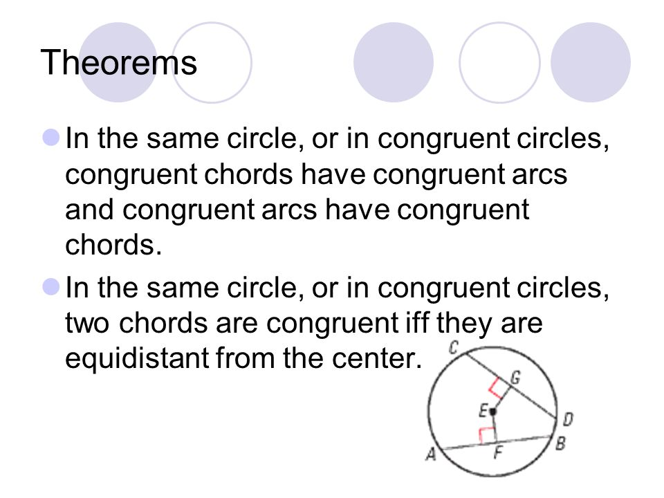 Theorems In the same circle, or in congruent circles, congruent chords have congruent arcs and congruent arcs have congruent chords.