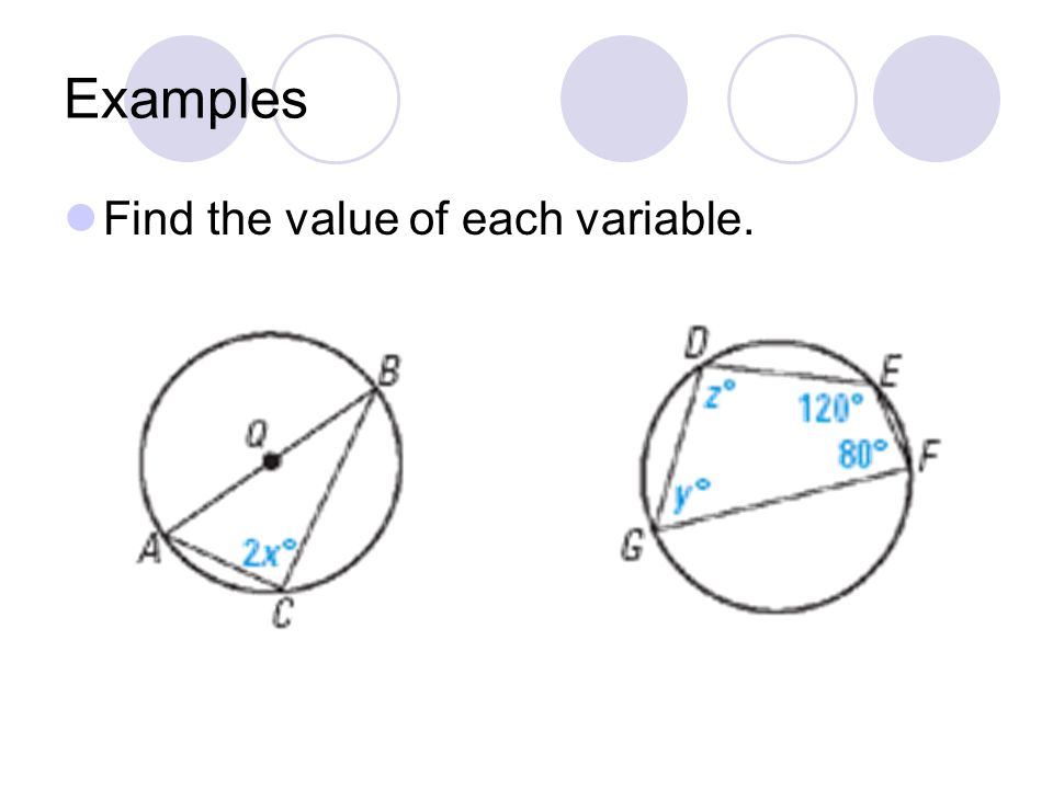 Examples Find the value of each variable.