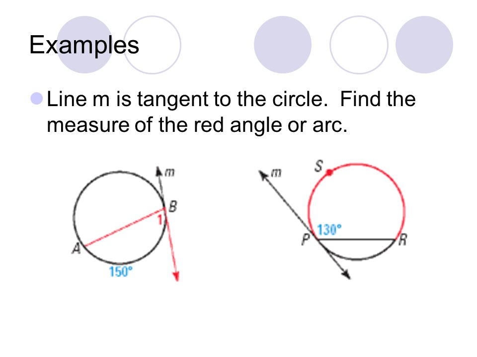 Examples Line m is tangent to the circle. Find the measure of the red angle or arc.